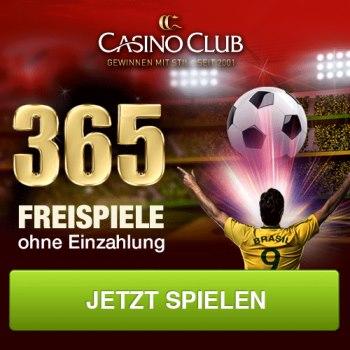 365 kostenlose Freispiele im Casino Club